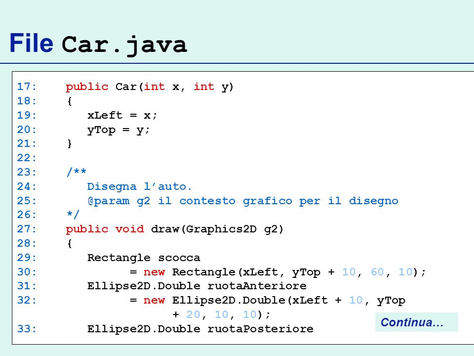 File Car.java 17: public Car(int x, int y) 18: { 19: xLeft = x;