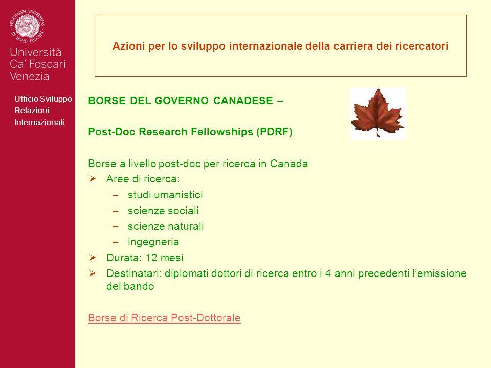 Azioni per lo sviluppo internazionale della carriera dei ricercatori