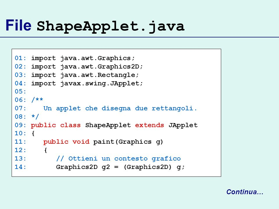 File ShapeApplet.java 01: import java.awt.Graphics;