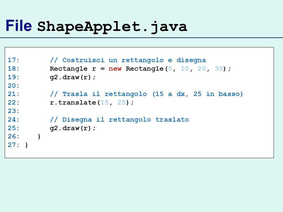 File ShapeApplet.java 17: // Costruisci un rettangolo e disegna