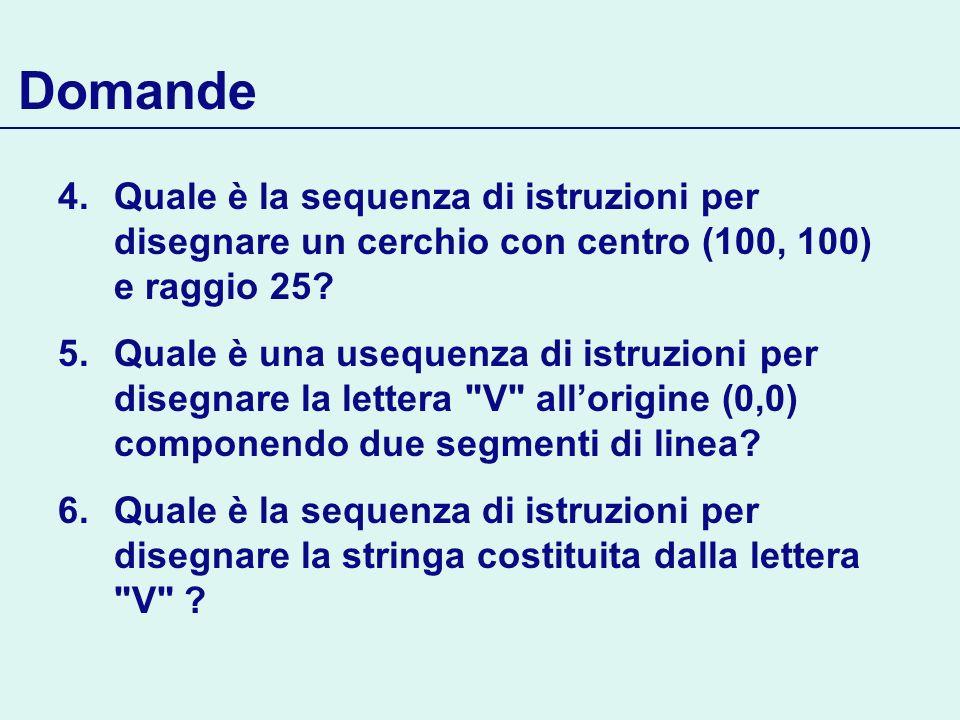 Domande Quale è la sequenza di istruzioni per disegnare un cerchio con centro (100, 100) e raggio 25