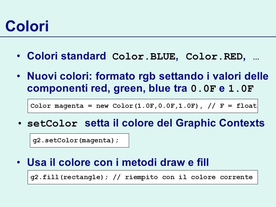 Colori Colori standard Color.BLUE, Color.RED, …