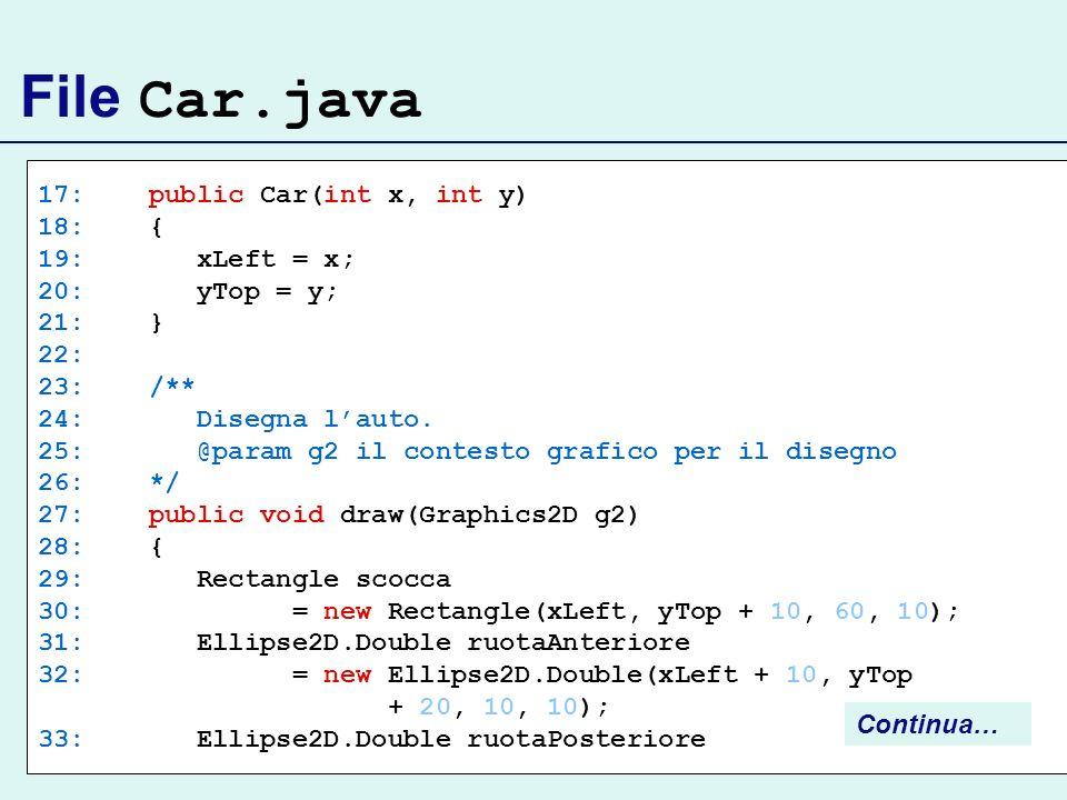 File Car.java 17: public Car(int x, int y) 18: { 19: xLeft = x;