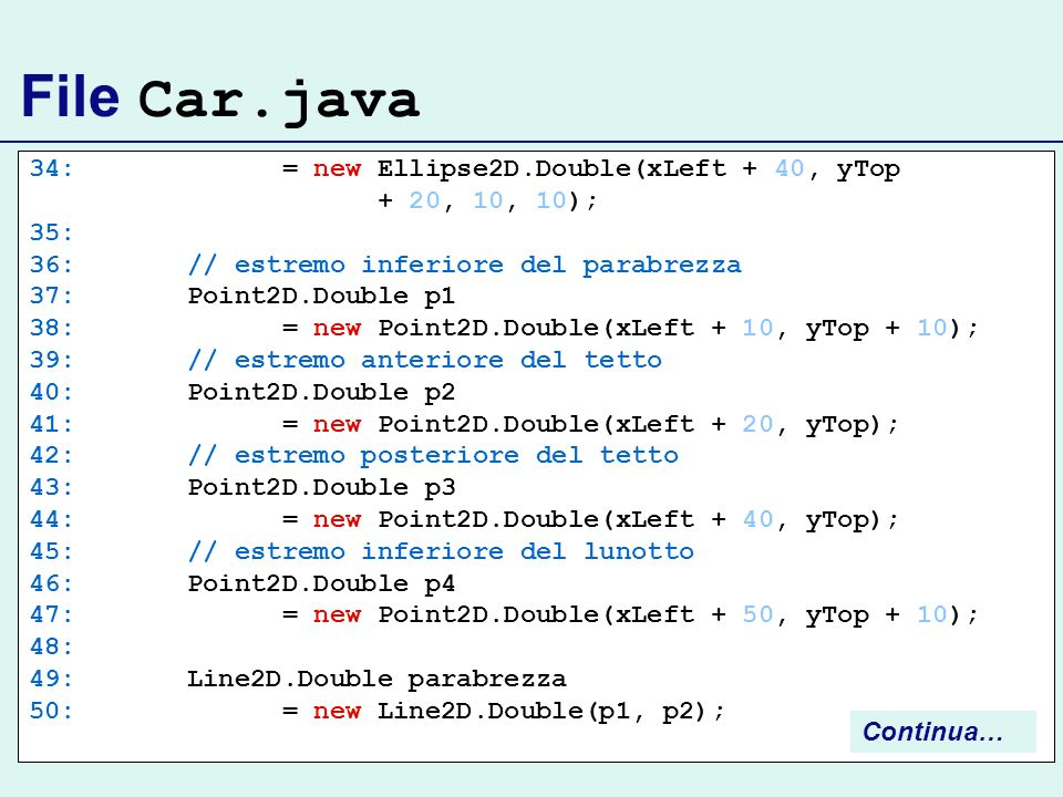 File Car.java 34: = new Ellipse2D.Double(xLeft + 40, yTop