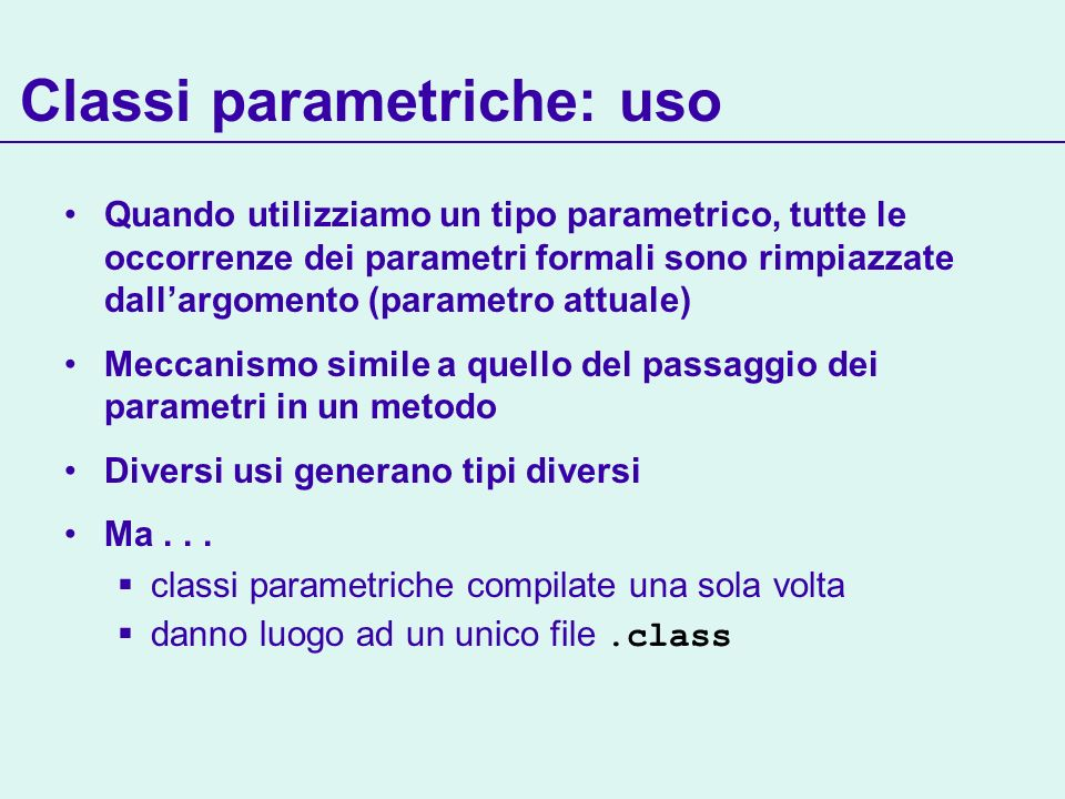 Classi parametriche: uso