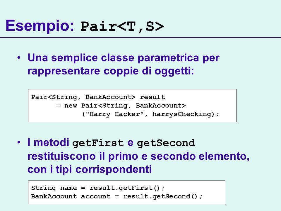 Esempio: Pair<T,S>
