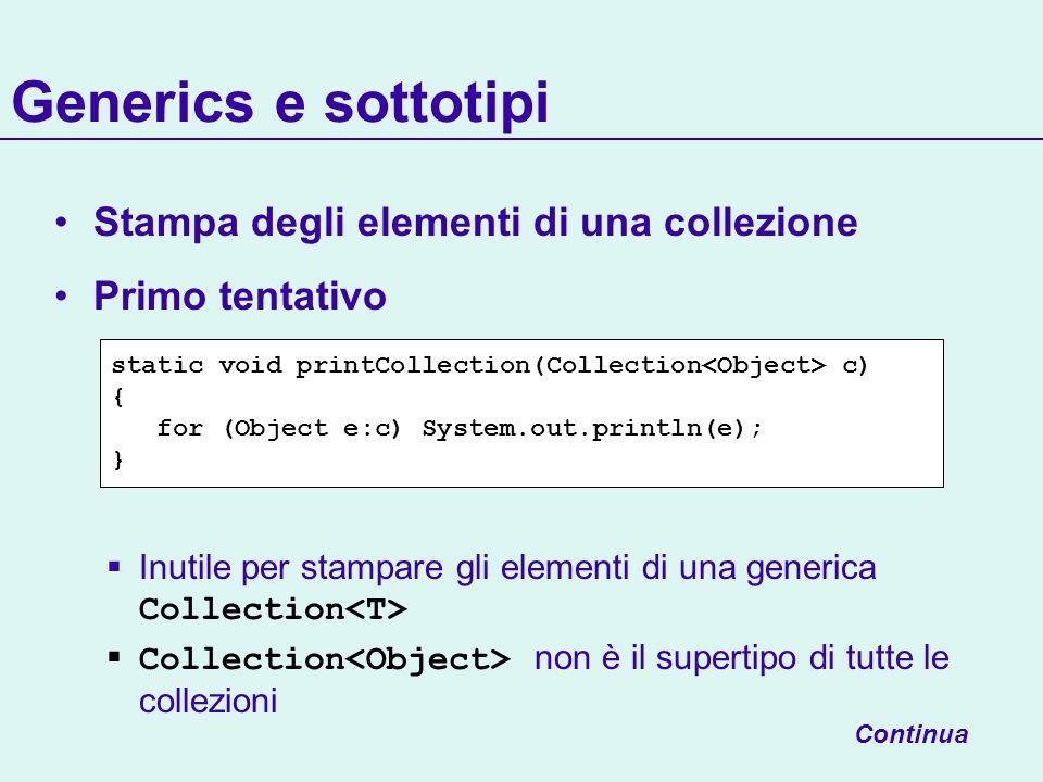 Generics e sottotipi Stampa degli elementi di una collezione