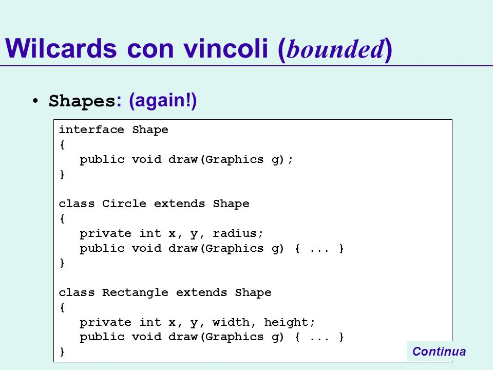 Wilcards con vincoli (bounded)