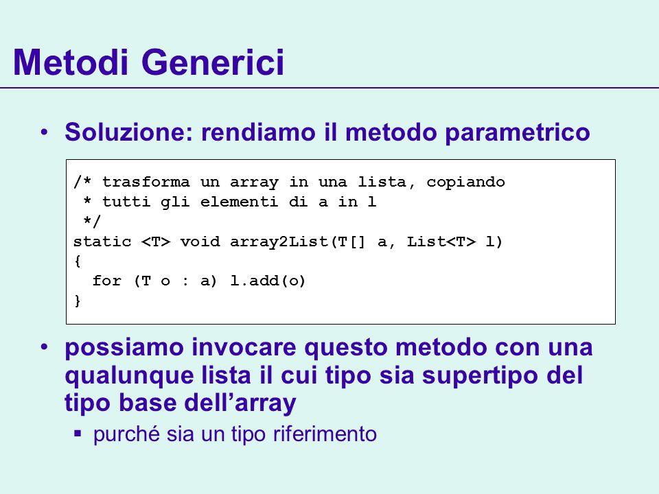 Metodi Generici Soluzione: rendiamo il metodo parametrico