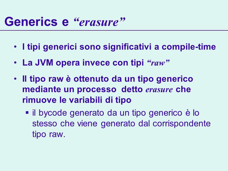 Generics e erasure I tipi generici sono significativi a compile-time