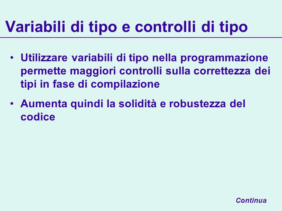 Variabili di tipo e controlli di tipo