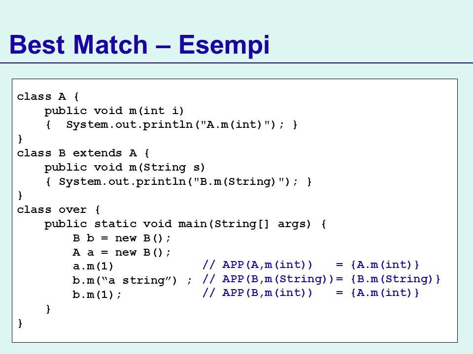 Best Match – Esempi class A { public void m(int i)
