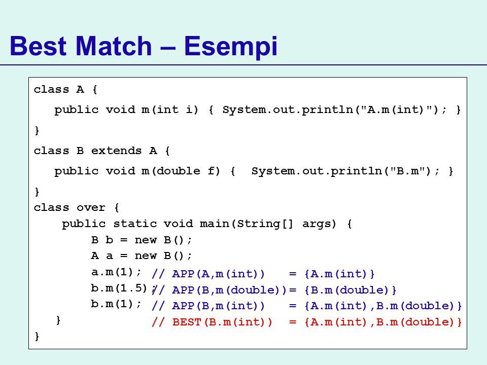 Best Match – Esempi class A {