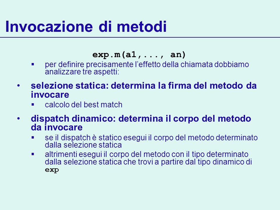Invocazione di metodi exp.m(a1,..., an)