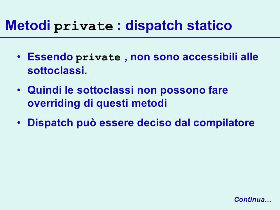 Metodi private : dispatch statico