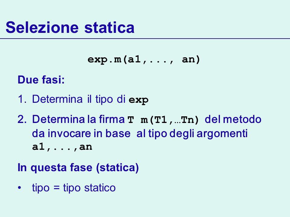 Selezione statica exp.m(a1,..., an) Due fasi: Determina il tipo di exp