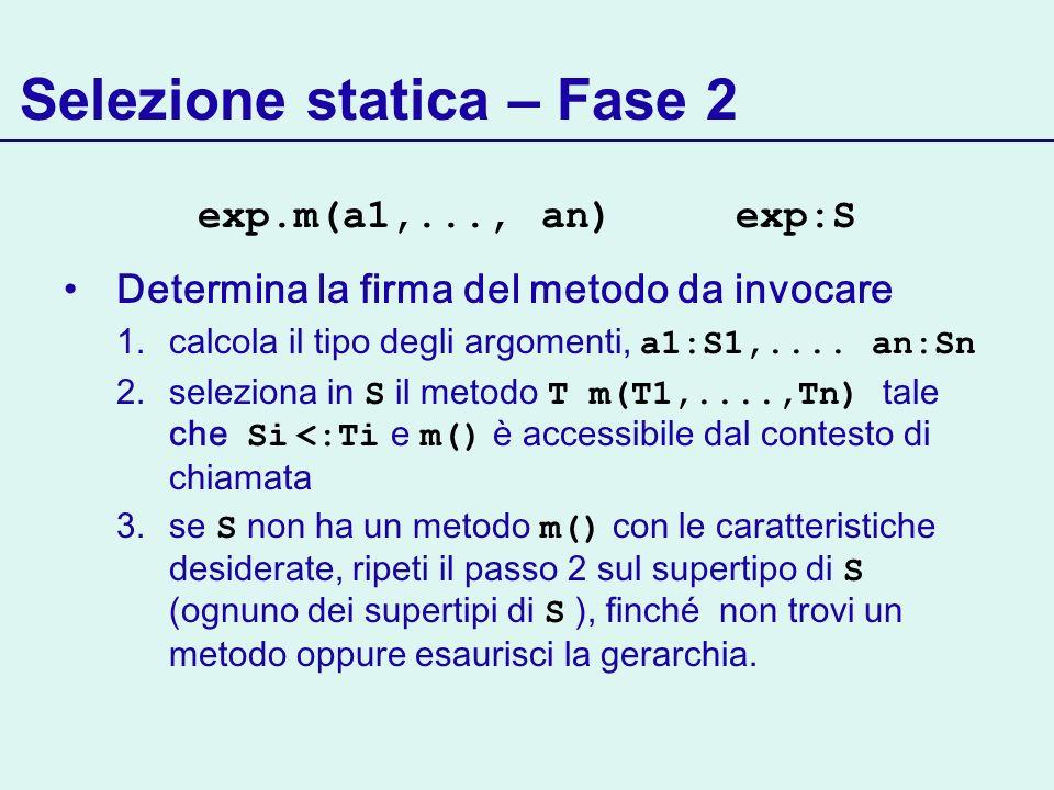 Selezione statica – Fase 2