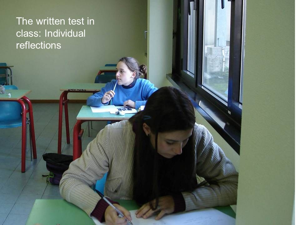 The written test in class: Individual reflections