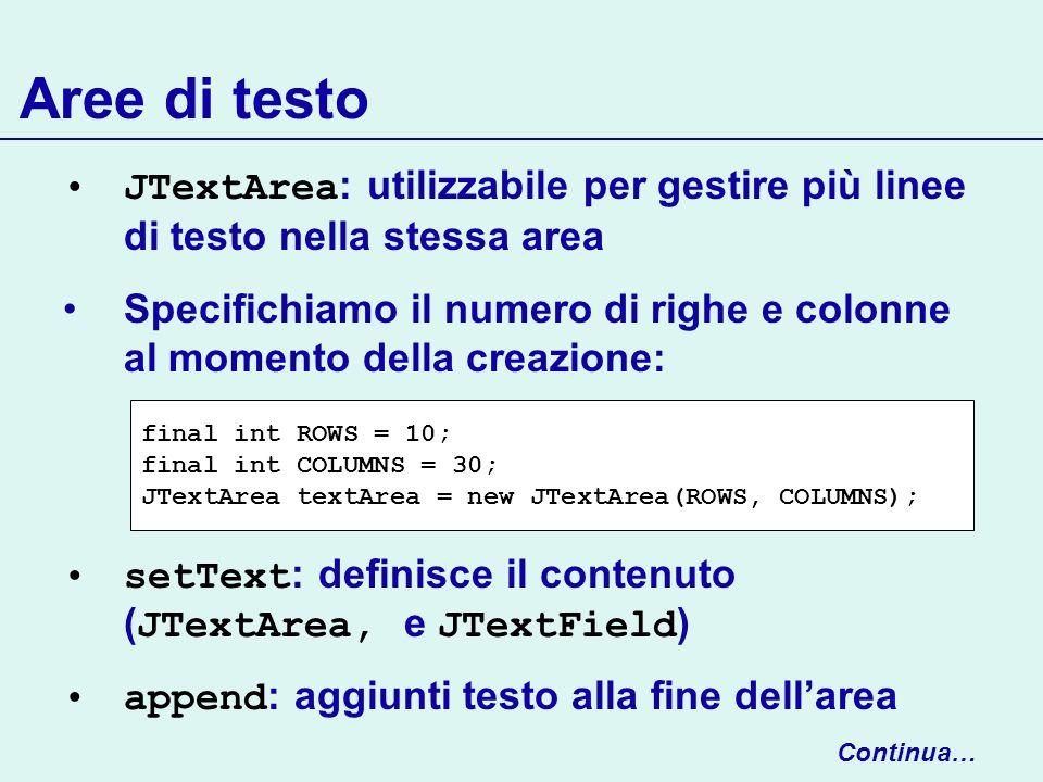 Aree di testo JTextArea: utilizzabile per gestire più linee di testo nella stessa area.