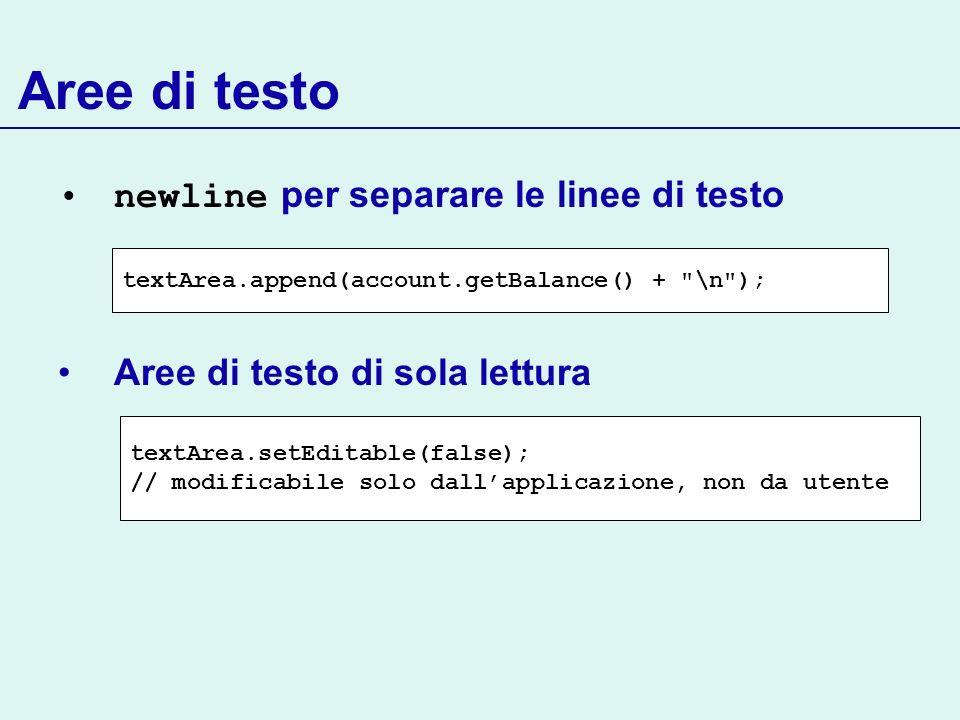 Aree di testo newline per separare le linee di testo