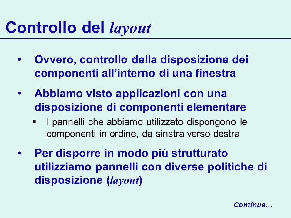 Controllo del layout Ovvero, controllo della disposizione dei componenti all'interno di una finestra.