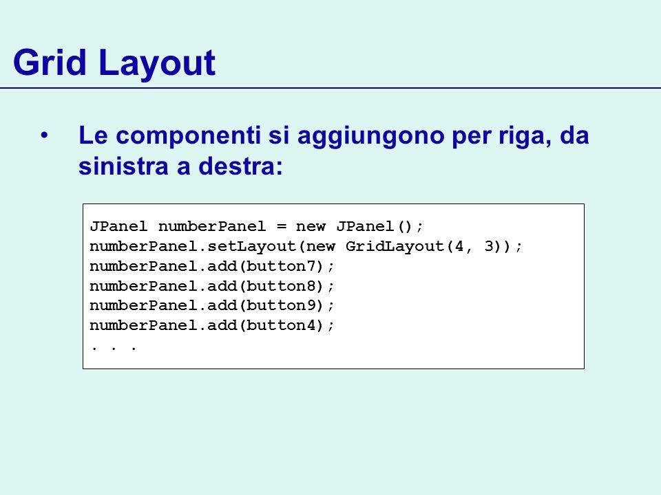 Grid Layout Le componenti si aggiungono per riga, da sinistra a destra: