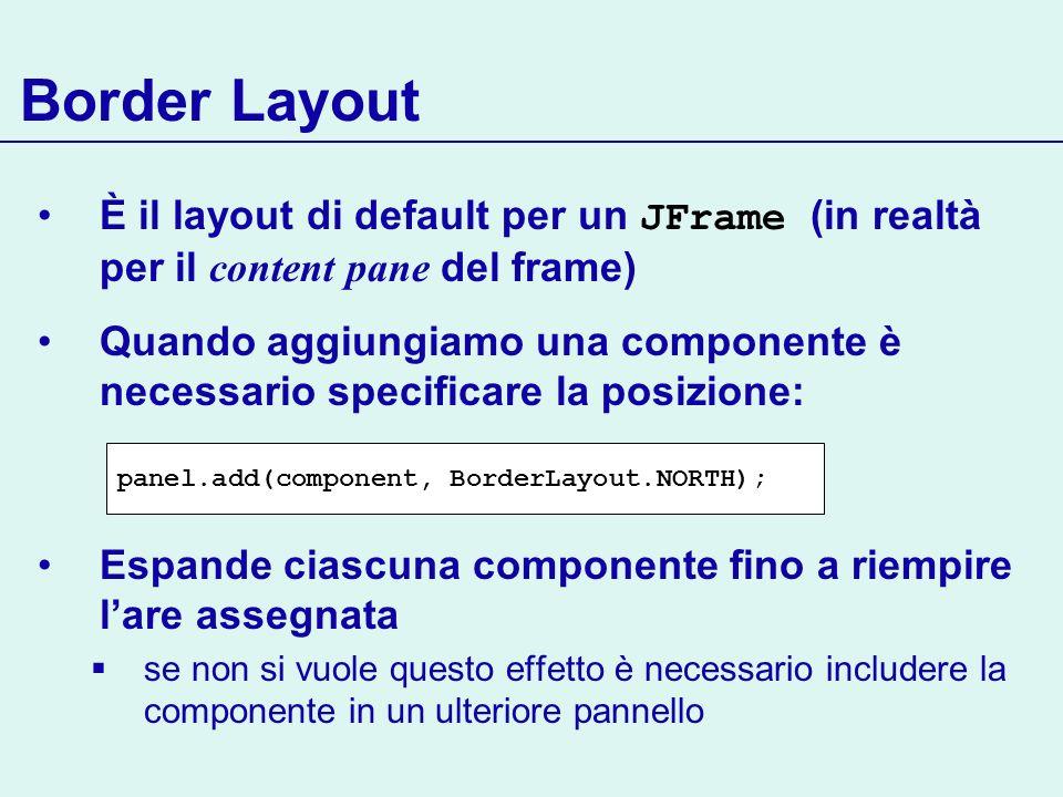 Border LayoutÈ il layout di default per un JFrame (in realtà per il content pane del frame)