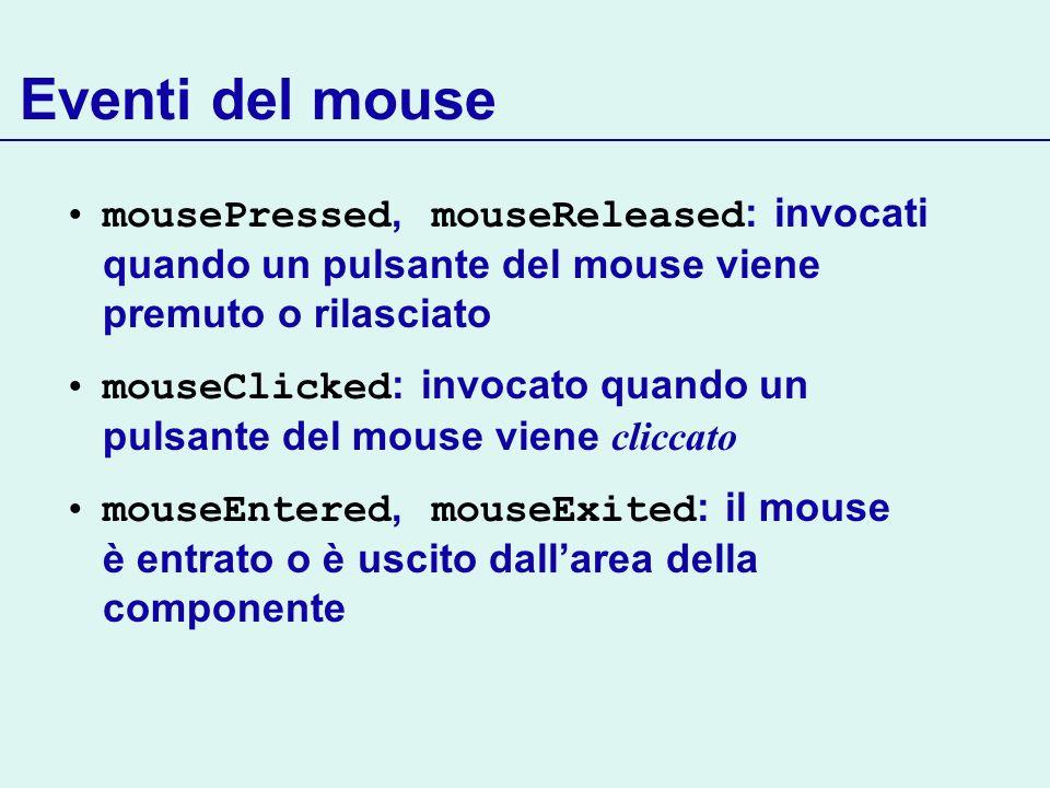 Eventi del mousemousePressed, mouseReleased: invocati quando un pulsante del mouse viene premuto o rilasciato.