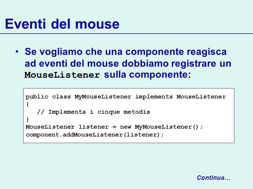 Eventi del mouse Se vogliamo che una componente reagisca ad eventi del mouse dobbiamo registrare un MouseListener sulla componente: