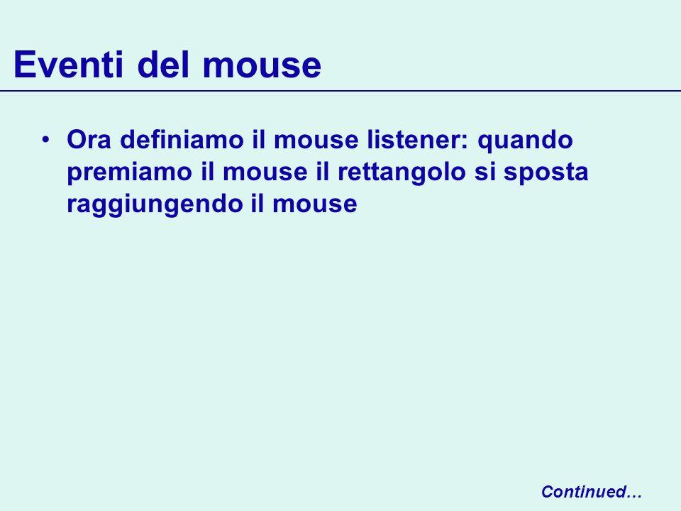 Eventi del mouse Ora definiamo il mouse listener: quando premiamo il mouse il rettangolo si sposta raggiungendo il mouse.