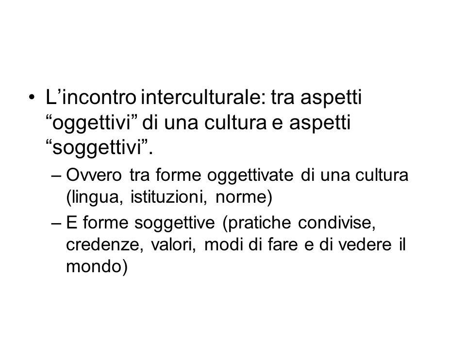 L'incontro interculturale: tra aspetti oggettivi di una cultura e aspetti soggettivi .