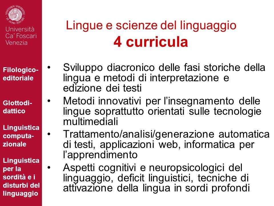 Lingue e scienze del linguaggio 4 curricula
