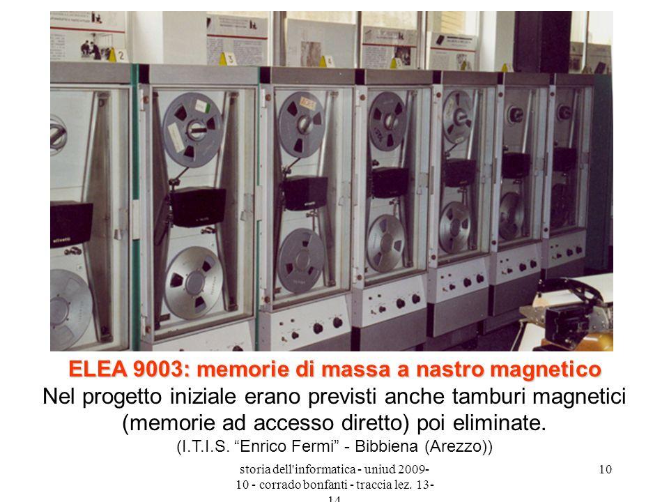 ELEA 9003: memorie di massa a nastro magnetico Nel progetto iniziale erano previsti anche tamburi magnetici (memorie ad accesso diretto) poi eliminate. (I.T.I.S. Enrico Fermi - Bibbiena (Arezzo))