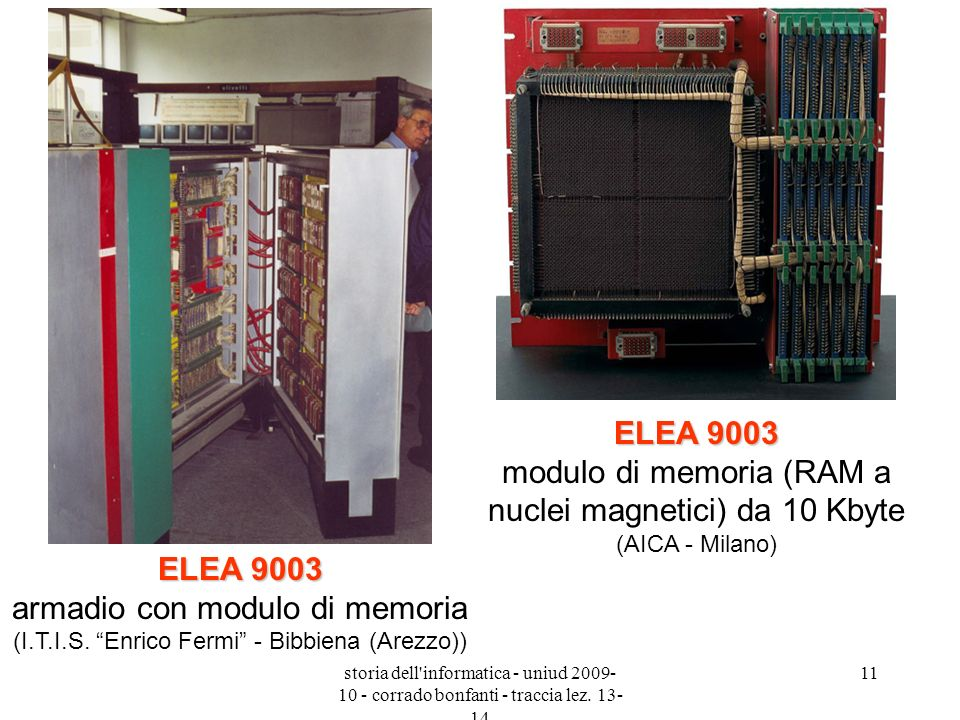 ELEA 9003 modulo di memoria (RAM a nuclei magnetici) da 10 Kbyte (AICA - Milano)