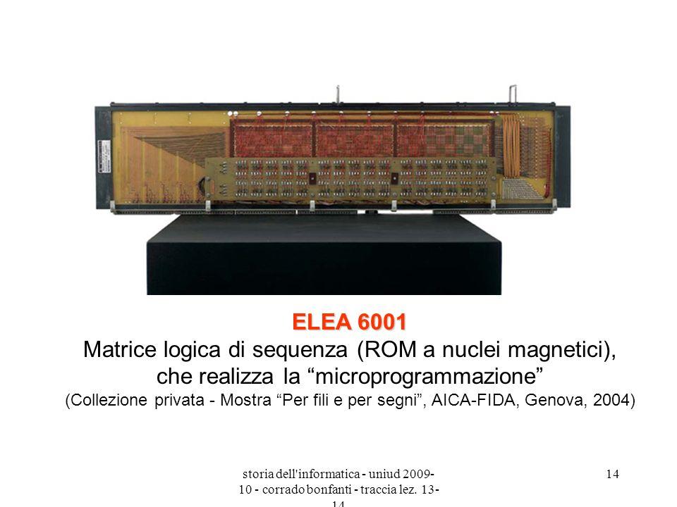 ELEA 6001 Matrice logica di sequenza (ROM a nuclei magnetici), che realizza la microprogrammazione (Collezione privata - Mostra Per fili e per segni , AICA-FIDA, Genova, 2004)