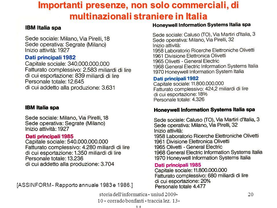 Importanti presenze, non solo commerciali, di multinazionali straniere in Italia