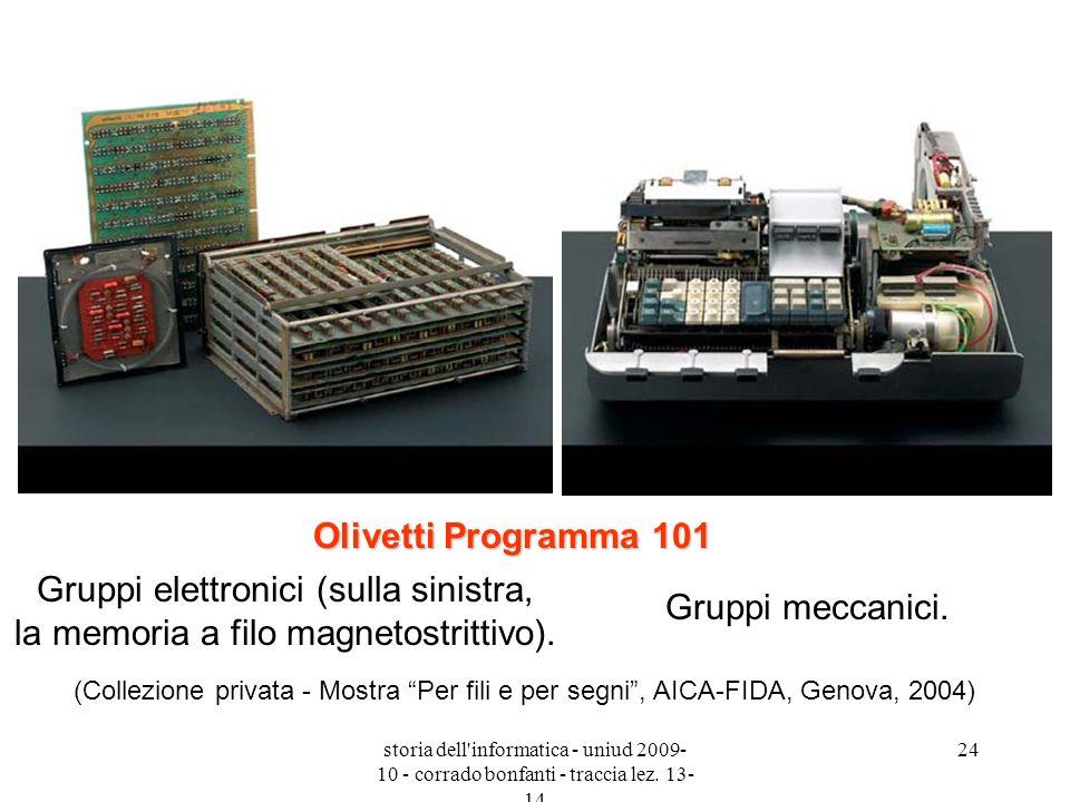 Olivetti Programma 101 Gruppi elettronici (sulla sinistra, la memoria a filo magnetostrittivo).