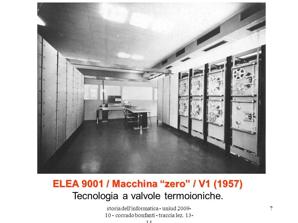 ELEA 9001 / Macchina zero / V1 (1957) Tecnologia a valvole termoioniche.