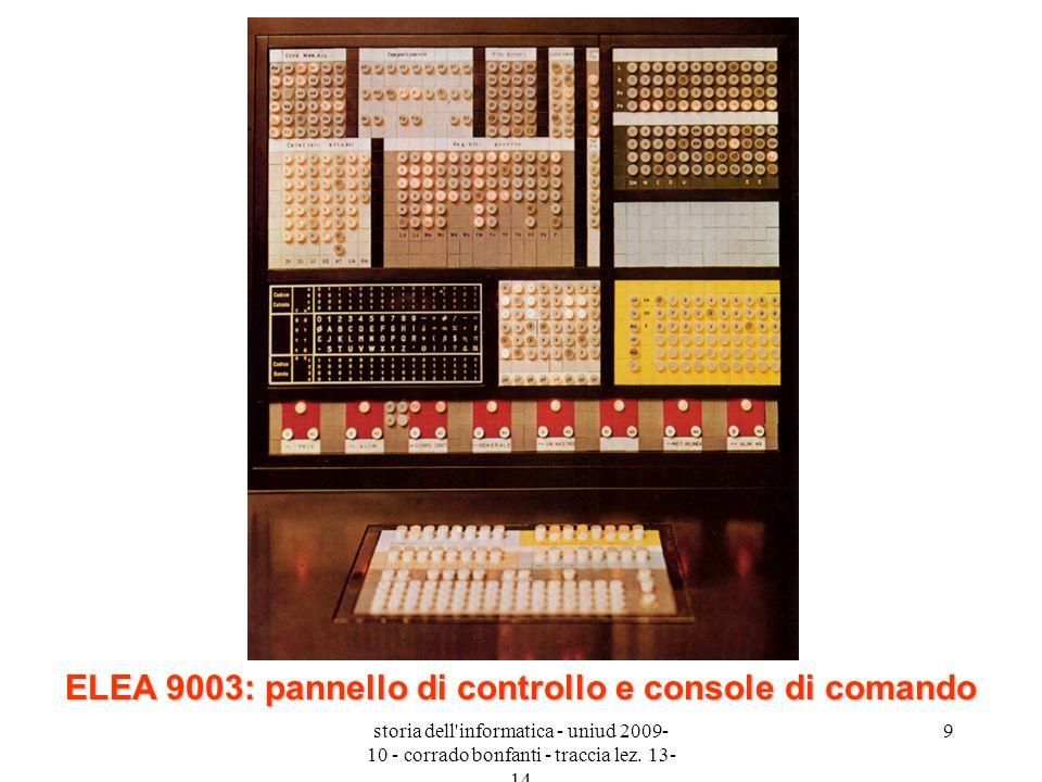 ELEA 9003: pannello di controllo e console di comando