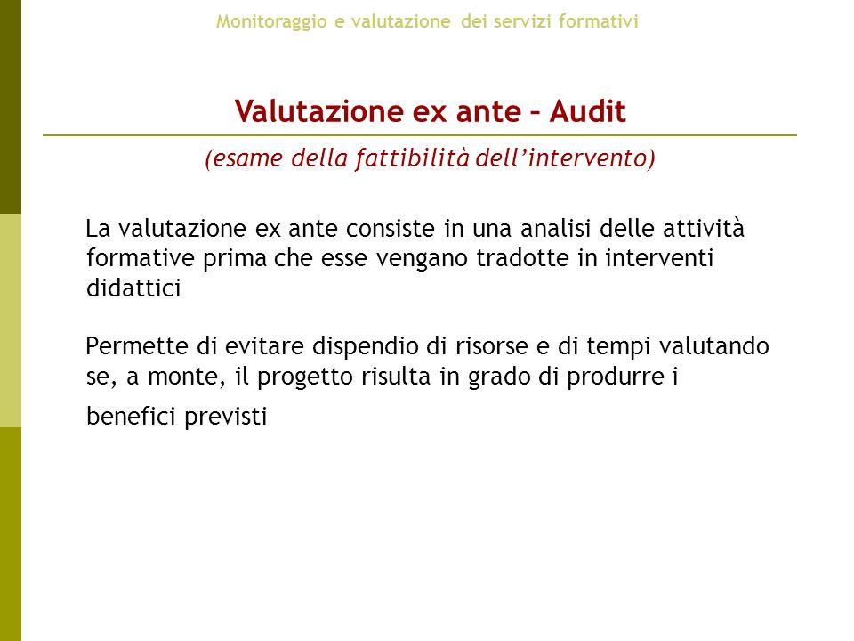 Valutazione ex ante – Audit