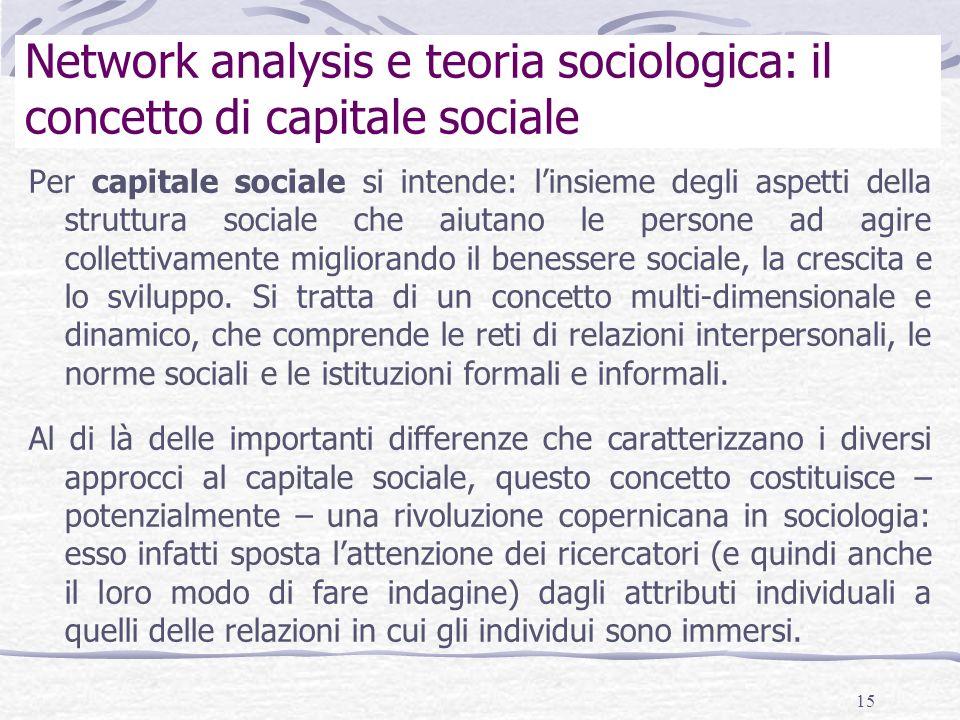 Network analysis e teoria sociologica: il concetto di capitale sociale