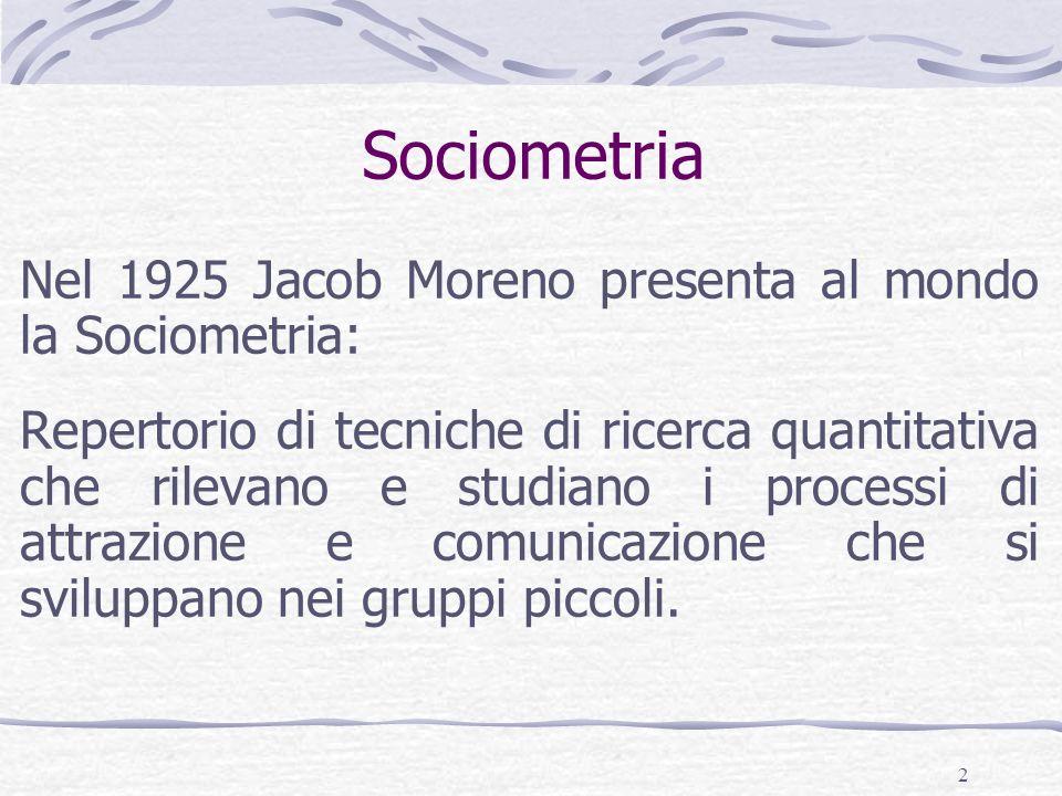 Sociometria Nel 1925 Jacob Moreno presenta al mondo la Sociometria: