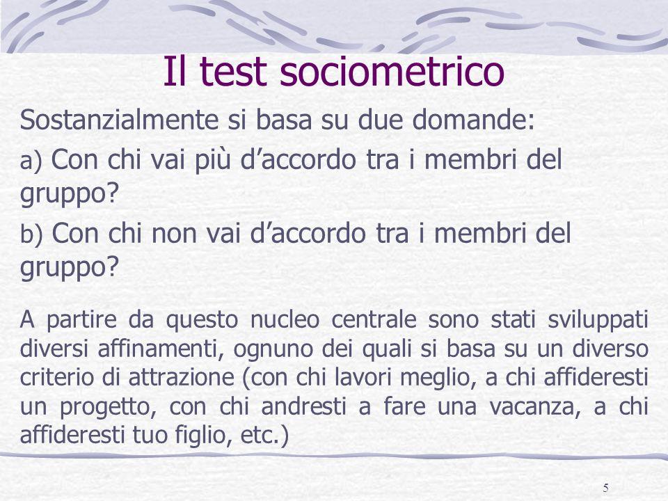 Il test sociometrico Sostanzialmente si basa su due domande: