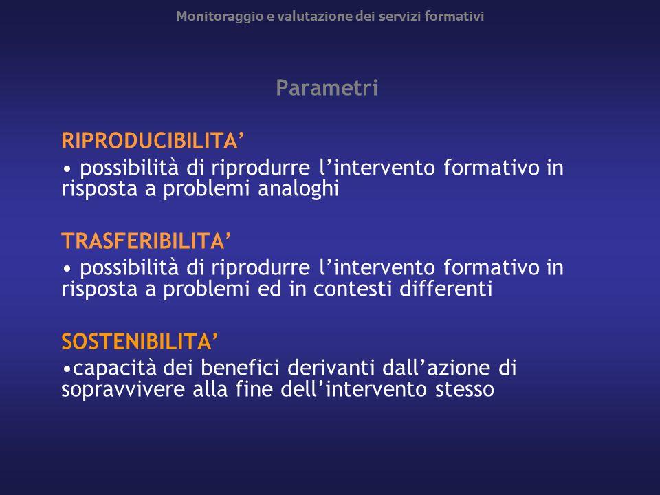 Monitoraggio e valutazione dei servizi formativi