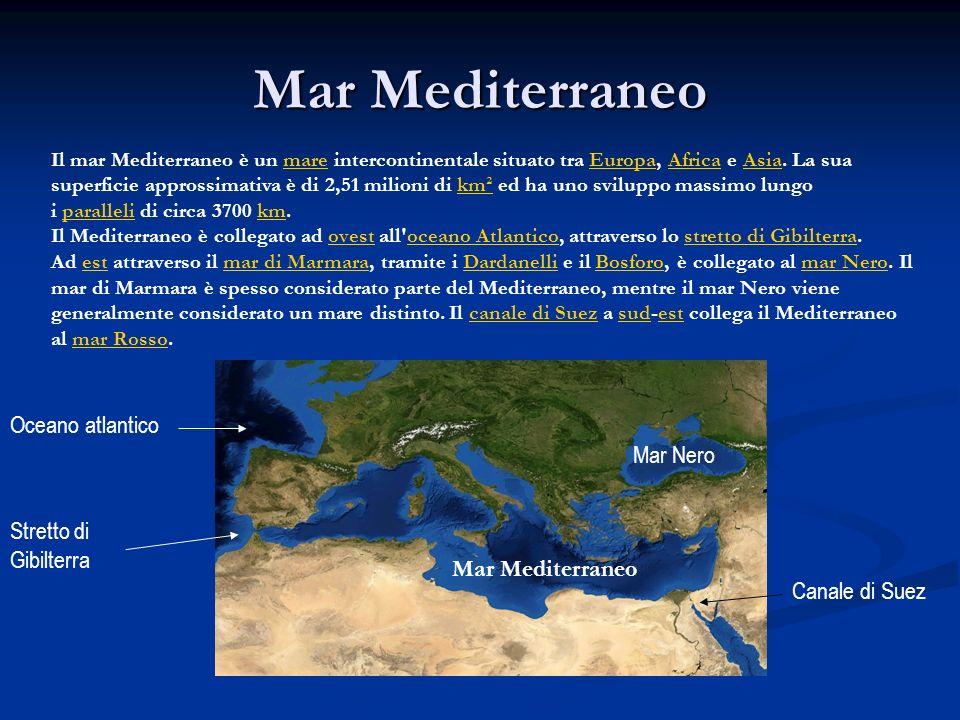 Mar Mediterraneo Oceano atlantico Mar Nero Stretto di Gibilterra
