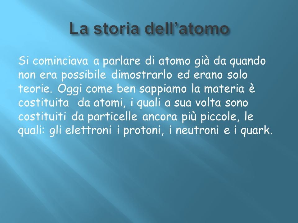 La storia dell'atomo