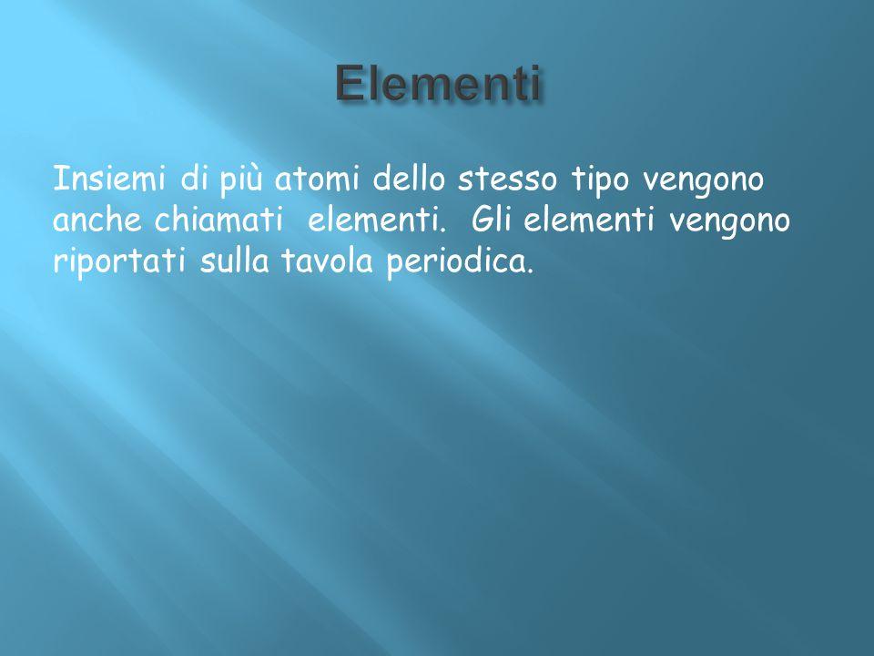 Elementi Insiemi di più atomi dello stesso tipo vengono anche chiamati elementi.
