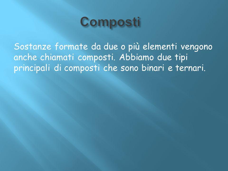 Composti Sostanze formate da due o più elementi vengono anche chiamati composti.