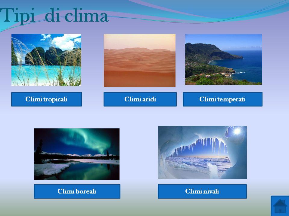 Tipi di clima Climi tropicali Climi aridi Climi temperati