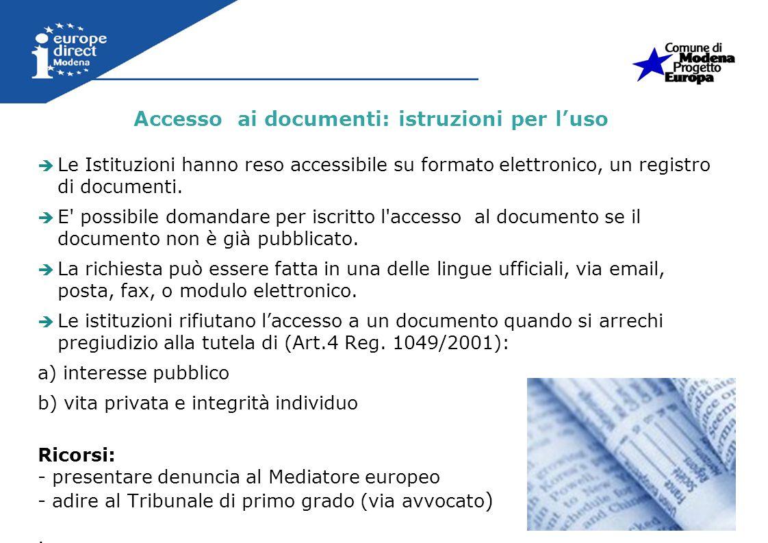 Accesso ai documenti: istruzioni per l'uso